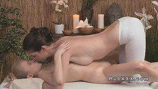 Nude Lesbians Fucking in Massage Centre with Deep Kissing