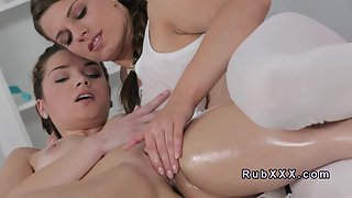 Ponytail Brunette Masseuse Oil Massage and Shaved Twat Fondling On Bed