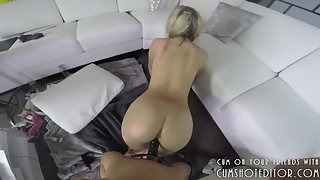 Pigtail Blonde Fucked By Strapon From Behind