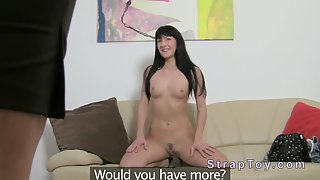 Sexy Lesbian Babe Fucking With a Big Strap on Dildo