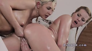 Charming Naughty Blonde Babe Having Sex with Her Friend on Bed