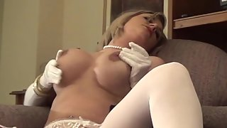Busty Blonde Chick Enjoys Twat Rubbing in Solo