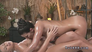 Busty Lesbians Licking Their Twats after Body Massage